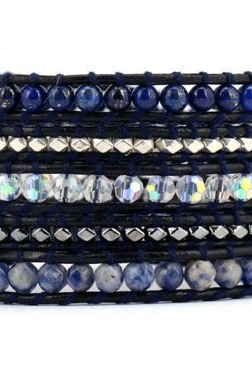 The Midnight Blue Wrap Bracelet | Lapis Sodalite Crystal & Silver Hematite Beads on Black Leather