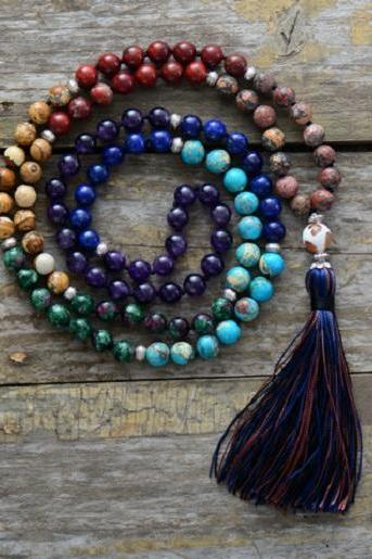 7 Chakra Mala Beaded Necklace in Natural Stones - Long Tassel Mala Necklace for Meditation - Knotted Bead Yoga Jewelry