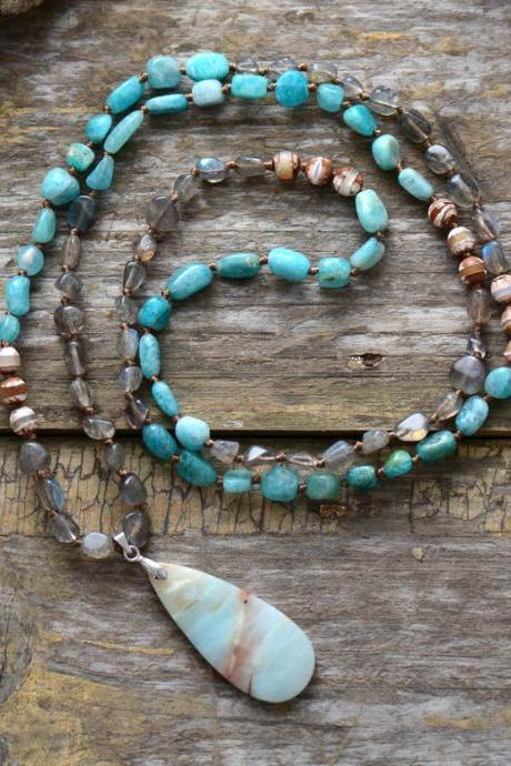 Long Beaded Labradorite Onyx Amazonite Pendant Necklace - Bohemian Beaded Necklace