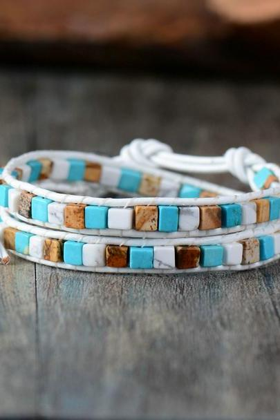 White Howlite Double Strand Square Shaped Mix Beaded Bracelet | Boho Wrap Bracelet | Summer Dainty Look | Chan Luu Style Bracelet
